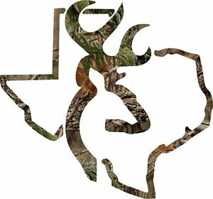 Camo Texas Deer Hunting Realtree Decal Window Sticker Vinyl Yeti Browning
