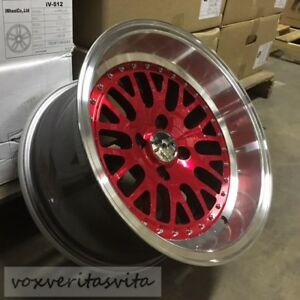 15 Lm20 Style Wheels Rims Red 4 Lug 4x100 Brand New Set Of 4 Aggressive Fit