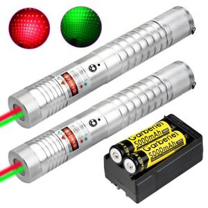 2pc 50miles 2in1 309 Green red Laser Pointer Lazer Pen Beam Light 18650 charger