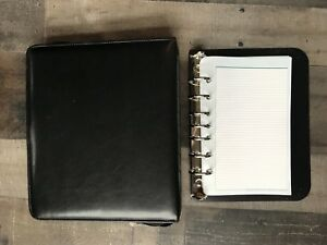 Black Unstructured Leather Franklin Covey Planner binder 7 Seven 1 Inch Rings