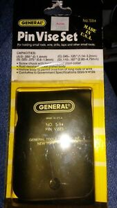 General Tool Single End Pin Vise 4 Piece Set New s 94 Made In Usa Free Shipping