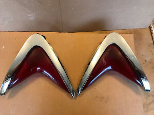 60 1960 Chrysler Tail Lights Lenses Bezels Chrome Boomerang Newport New Yorker