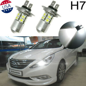 100w White H7 Led Bulbs Daytime Running Lights Drl For Accent Sonata 2013 2014