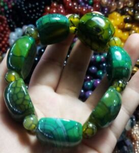 Pure Natural Chinese Dragon Pattern Green Agate Amulet Elastic Bracelet