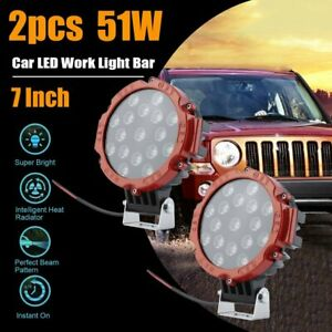 2pcs Red 7inch 51w Round Led Driving Light Offroad Truck Suv 4wd Bumper Fog Lamp