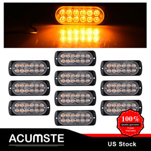 10pcs Amber 12led Strobe Light Atv Utv Car Hazard Flash Warning Emergency Signal
