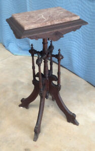 Walnut Candle Plant Stand C1880s 90s Red Tenn Marble Insert Original Condition