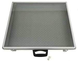 34x22x3 Portable Table Top Aluminum Display Case with Handle Lock Side Panels