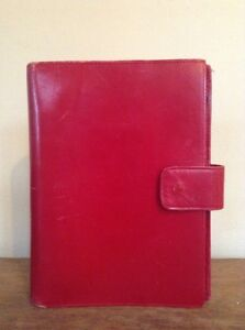 Unstructured Franklin Covey Classic Red Planner Binder Italian Calfskin Leather