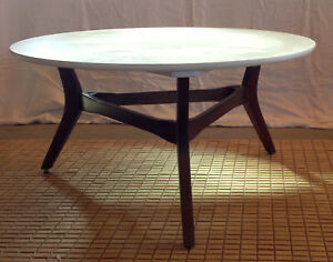 Mid Century Modern Round White Coffee Table With 3 Leg Wood Base