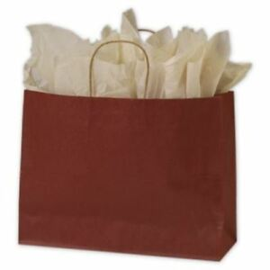 250 Brick Red Color On Kraft Shoppers Paper Bags Gift Merchandise 16 X 6 X 12 1