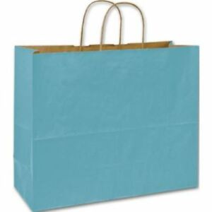 250 Robin s Egg Blue Color On Kraft Shoppers Paper Bags Gift Merchandise 16 X 6