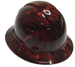 Hard Hat Full Brim Hydro Dipped Red Reaper W Free Brb Tshirt
