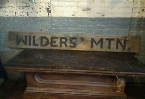 1940s Wilder S Mountain Wooden Sign Carved Primitive Farmhouse Virginia Country