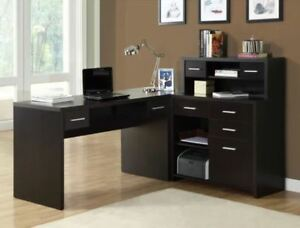 Executive Office Desk L shaped Storage Set Hutch Shelves Drawers Modern Home New