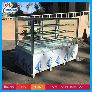 Bakery Showcase Donuts Bagels Pastry Dry Glass Display Case Led Lighting New 72