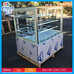 New 48 Bakery Showcase Donuts Bagels Pastry Dry Glass Display Case Led Lighting