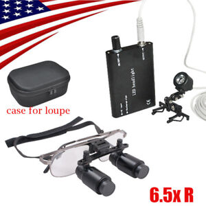 Us 6 5x R Dental Loupes Medical Surgical Binocular Loupe Clip Led Headlight Lamp