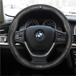 38cm Genuine Leather Upgrade Pinhole Car Steering Wheel Cover For Bmw Black