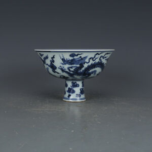 6 China Antique Porcelain Ming Xuande Blue White Dragon Height Feet Cup