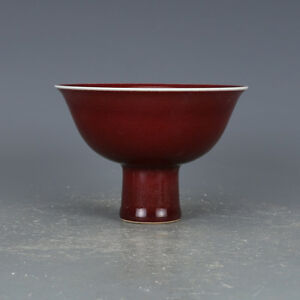 5 China Old Antique Porcelain Ming Yongle Red Glaze Height Feet Cup Statue