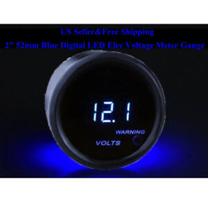 2 52mm Blue Digital Led Universal Volt Gauge Car Voltage Voltmeter 0 15v S