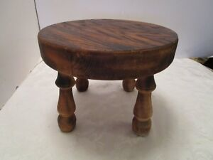 American Primitive Wood Milking Stool Foot Rest Scorched Hand Made 10 W Vintage