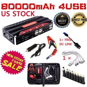 80000mah 4 Usb Car Jump Starter Emergency Charger Booster Power Bank Battery Ov