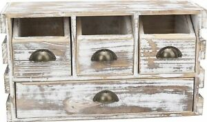 Decorative Country Rustic Distressed Wood 2 Level Organizer Storage Cabinet