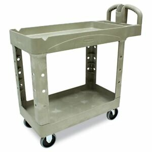 Rubbermaid Beige Commercial Heavy duty Two shelf Utility Cart