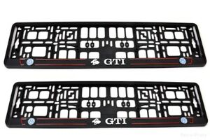2x Black 3d Volkswagen Golf Gti European Euro License Number Plate Holder Frame