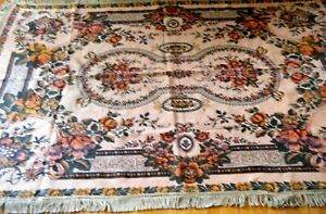 Old Tapestry Tablecloth Victorian Fruit Basket W Flowers Fringes Label Italy