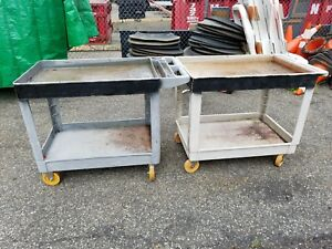 Lot Of 2 Rubbermaid 4520 Gray Hd Tray Shelf Service Cart Dolly 24 X 36 400lb