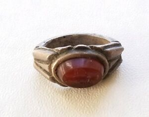 Ancient Roman Silver Lawyer S Ring With Aequitas Intaglio Red Jasper 14 Grams