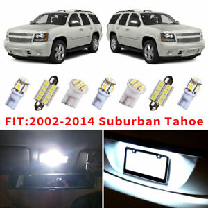 14x White Led Bulb Interior Light Package Kit For 2002 2014 Chevy Suburban Tahoe