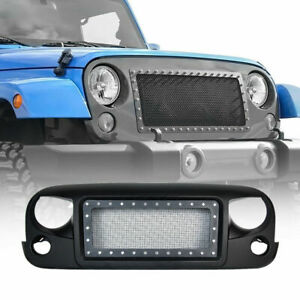Grille Pre drilled Front Mesh Grid Black Rubicon Sahara For Jeep Wrangler Jk