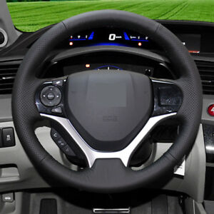Black Genuine Leather Diy Car Steering Wheel Cover For Honda Civic 2011 2015