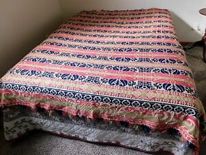 Antique Revesible Jacquard Coverlet Blanket Woven Linen Wool Red Black Green