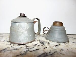 Antique Two Tin Whale Oil Lamps One Double Burner One With Out Finger Handles