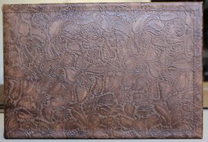 Leather 7 Ring Business Check Binder Light Chocolate Western Floral Cowhide