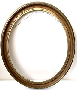 Wood Picture Frame Gold Gilt Oval 28 X 24 Vtg Gesso No Glass Large