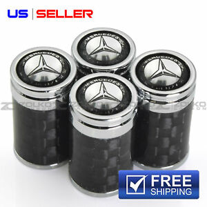 Carbon Fiber Valve Stem Caps Wheel Tire For Mercedes Benz Vc10 Us Seller