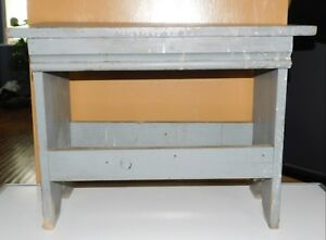 Blue Gray Painted Rustic Primitive Wood Bench Footrest Stool