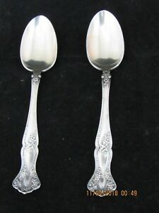 Two 1847 Rogers Triple Silver Plate Tea Spoons Grapevine Design