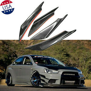 Carbon Fiber Trim Front Bumper Canards Splitters Body Spoiler For Lancer Evo X
