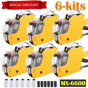 6x 10digital 2 Line Price Label Gun Mx 6600 With 5 Rollslabels 1 Ink Roller Ma