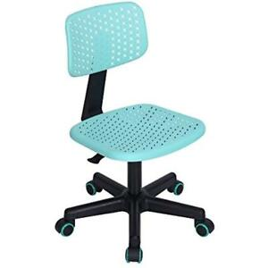 Hollow Armless Swivel Office Computer Desk Chair Kids Study Pu Colorful Wheels