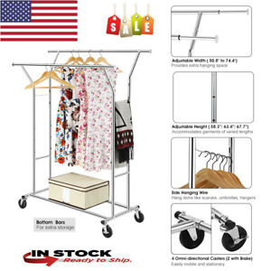 Adjustable Double Rail Rolling Garment Rack Laundry Room Bedroom Storage Foyer