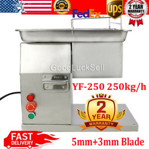250kg hour Commercial Meat Slicer Machine Stainless Steel Cutter 3mm 5mm Blades