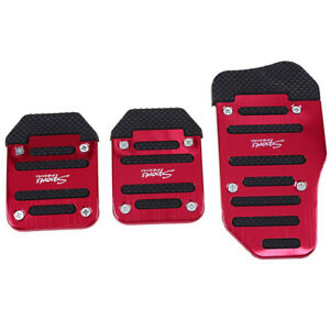 3pcs Race Sports Manual Car Auto Non Slip Clutch Foot Pedals Covers Alloy Red